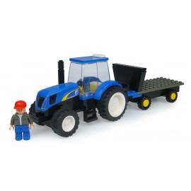 Tracteur New Holland A Monter Avec Figurine Et Remorque - 70 Pieces