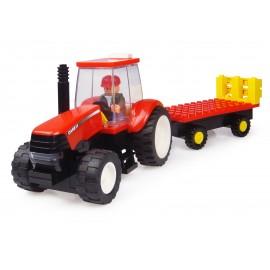 Tracteur Case A Monter Avec Figurine Et Remorque - 70 Pieces