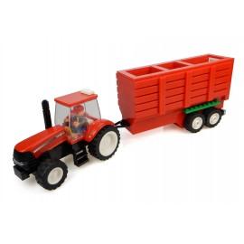Tracteur Case + Remorque à foin + Fermier