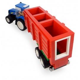 Tracteur New Holland + Remorque à foin + Fermier