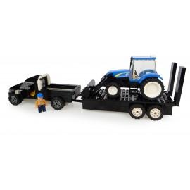 Pickup + Remorque + Tracteur New Holland + Chargeur + Fermier
