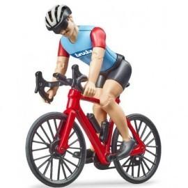 SET FIGURINE CYCLISTE AVEC VELO DE ROUTE