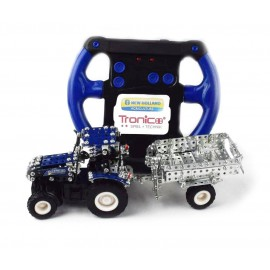 Micro Series Controle Infrarouge Avec Leds - Tracteur New Holland T5-115 Avec Remorque - 442 Pieces